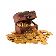 Trekids Pirate Treasure A Treasure Chest of Plastic Play Gold Coins for Kids 100-Pkg