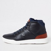 Lacoste Navy leather hi top trainers (Size 8)