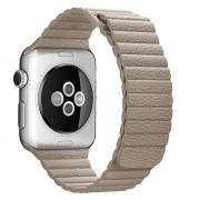 Magnetic Loop Genuine Leather Watch Strap Band for Apple Watch Series 4 44mm / Series 3 2 1 42mm - Khaki