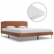 vidaXL Pat cu saltea, maro, 160 x 200 cm, material textil