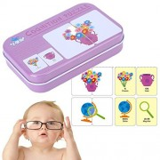 Yosoo Learning Flash Cards, Game Puzzle Cognitive Matching Cards Early Reading Program with Iron Box for Baby Children Kids Toddler Kindergarten Improve Brain-Hand Coordination(Living Goods)