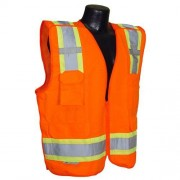 Radians SV46OL Class 2 Breakaway Survey Safety Vests, Two Tone Orange, Large