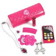 My First Purse - Pretend Play Princess Set for Girls - 8-Piece Kids Play Toy Purse Set with Play Phone, Pretend Lipstick, Ring, Necklace, Mirror, Earrings and Purse, Pink
