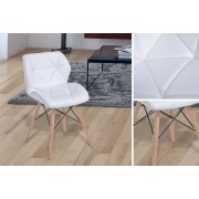 White Faux Leather Padded Chair w/ Solid Wood Legs