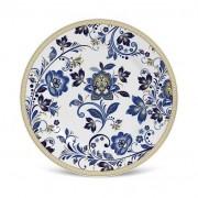 Porto Brasil Prato Sobremesa Flat Classic Blue Cerâmica 6 Peças Porto Brasil