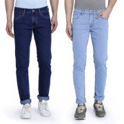 John Wills Men's Light Blue and Dark Blue Cotton Stretchable Slim Fit Jeans (Pack of 2)
