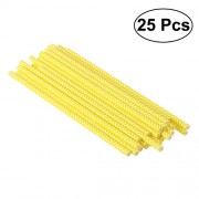 TENDYCOCO 25 Pcs Party Paper Straws Drinking Stripe Straw Wavy Line Paper Straws Decorative Drinking Straws for Party Event Decor (Yellow)