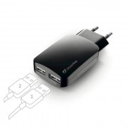 Cellular Line Cellularline USB Charger Dual Ultra - Fast Charge Universale Caricabatterie a 15W per due dispositivi Nero