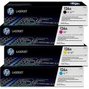 HP 126A Color CP1020 CP1025NW Toner E310A CE311A CE312A CE313A Cartridges Combo - 4 Pack (BCMY) Multi Color Toner (Black Magenta Yellow Cyan)