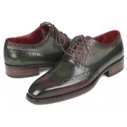 Paul Parkman Goodyear Welted Oxford Shoes Brown & Green BW926GR