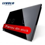 Panou intrerupator dublu + simplu cu touch Livolo din sticla, negru