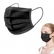 Ochranná rouška z netkané textilie 3 - vrstvá, černá - V&V