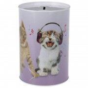 Geen Katten/poezen met koptelefoon spaarpot 15 cm