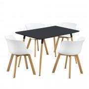 PremiumXL - [en.casa] Design blagovaonski set - stol(crni) sa 4 stolice(bijele)