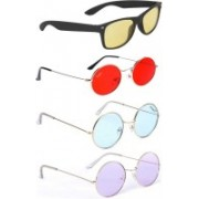 Tazzx Wayfarer, Round Sunglasses(Red, Blue, Yellow, Violet)