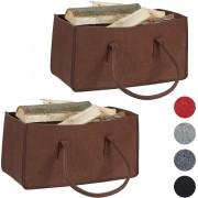 relaxdays 2x houtmand vilt - haardhout tas - draagtas - vilttas - flexibel - bruin