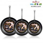 Magefesa Astro Chef - Set Juego 3 Sartenes 20-24-28 cm aluminio forjado, inducción, antiadherente ecológico libre PFOA, mango profesional acero inoxidable