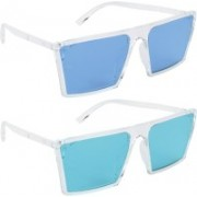 NuVew Retro Square, Wayfarer Sunglasses(Blue, Green)