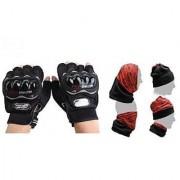 Combo Black Half Probiker Golves + Buff Headwear