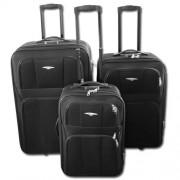 Max K661če kufr cestovní textilní set 3ks černý