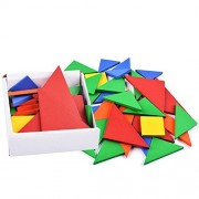 BUYITNOW Kids Colorful Wooden Tangrams Set Geometry Shape Puzzle Toy 32 Pieces