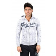Carlsberg Felpa Full Zip Cappuccio Spruzzata, Taglia: S, Per adulto Uomo, Grigio, CBU2597-GRIGIO