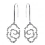 Boucles d'oreilles fleurs avec diamants en or blanc