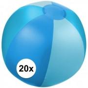 Geen 20x Opblaasbare strandbal blauw