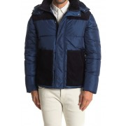 Scotch Soda Quilted Mixed Media Jacket 0081-WORKER BLUE