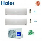 HAIER Climatizzatore Condizionatore Haier Dual Split Inverter Nebula Green White R-32 7000+9000 Con 2u40s2sc1fa Wi-Fi Ready 7+9