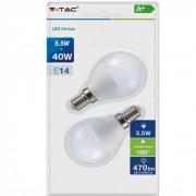 V-TAC E14 5,5W 470lm 2700K 180 ° LED-izzó opál gömb 2db-os csomagban