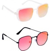 TheWhoop Rectangular, Round Sunglasses(Orange, Pink)