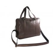 Skórzana torba na ramię A4, na laptopa, ciemny brąz