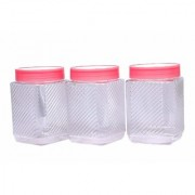 Nucleya Retail 3 Piece Plastic Container Set Plastic Container Set for Kitchen Use 500 ml (Pink )