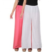 Culture the Dignity Women's Rayon Solid Palazzo Ethnic Pants Palazzo Ethnic Trousers Combo of 2 - Baby Pink - White - C_RPZ_P2W - Pack of 2 - Free Size
