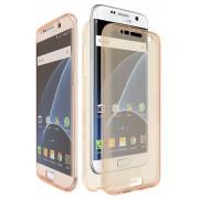 Husa Full TPU 360 (fata spate) pentru Samsung Galaxy S7 Edge Gold Transparent