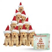 """Paper House Productions Paper House Productions Jigsaw Shaped Puzzle 18 by 24-"""" Golden Retriever Puppies Holiday"""