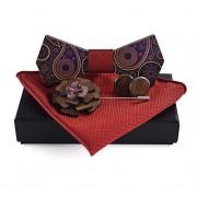 Dřevěný motýlek s kapesníčkem a manžetovými knoflíčky a broží Gaira 709061