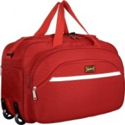 alfisha Wholesale High Quality Easy Carry Durable Fashion high-Capacity Traveling Duffle BagTravel Duffle Bag with Roller Wheels (Gala Straight Line Maroon) Small Travel Bag(Red)