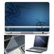 FineArts Laptop Skin HP on Blue With Screen Guard and Key Protector - Size 15.6 inch