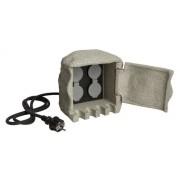 Heitronic Energieverteiler PIEDRA 4-fach grau, für den Innen- und Außenbereich