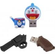Green Tree Doraemon Fancy Pendrive 64 gb + Gun Shaped 64 GB Pen Drive(Blue)