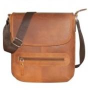 Kan Hunter Leather Shoulder Bag/Travel Pouch/Sling Bag for Men & Women 7 L Backpack(Tan)