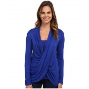 Miraclebody Jeans Tobi Twisted Wrap Top w Body-Shaping Inner Shell Electric Blue