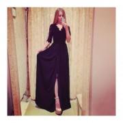 vestido largo de mangas media larga escote V de estilo americano y sexy color negro