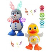 Zuffon Dancing Duck And Dancing Rabbit With Music and 3D Flashing Lights For Babies, Toddlers, Girls and Boys | Perfect Birthday Gift for Your Baby ,Dancing Duck/Frog/Rabbit Toy,LED Lighting Duck/Frog/Rabbit Walking ,Musical Sound Toy for Toddlers and Bab