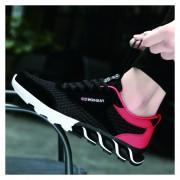Zapatos Hueco Para Hombre De Malla De Encaje De Deportes - Negro Y Rojo