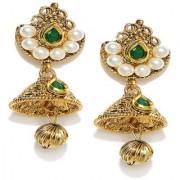Zaveri Pearls jhumka earrings traditional in antique gold look - ZPFK5030
