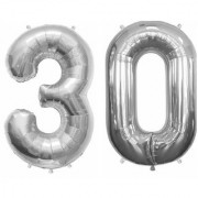 Stylewell Solid Silver Color 2 Digit Number (30) 3d Foil Balloon for Birthday Celebration Anniversary Parties