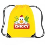 Bellatio Decorations Chicky de Kip trekkoord rugzak / gymtas geel voor kinderen